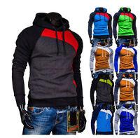 Fashion Men Casual Pullover Hoodie Fleeces Hooded Sweatshirt Patchwork Coat Tops