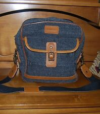 Vintage Large Gray tweed leather travel crossbody CAMERA bag TOTE satchel NEW
