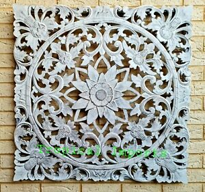 WHITEWASH MANDALA WOOD CARVED WALL ART SCULPTURE  PLAQUE LARGE 100 CM