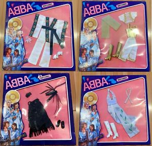 ABBA DOLL COSTUMES – ALL 4 - ORIGINAL 1978 MATCHBOX DOLL OUTFITS – ALL ORIGINAL