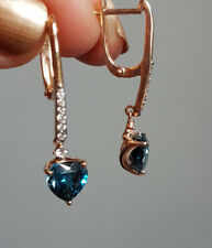 Russian solid  rose gold 585 14k heart london topaz CZ dangle earrings NWT 3.53g