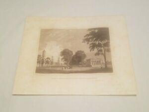 CR2) Yale College & State House New Haven c.1834 Engraving Drawn by JA Davis