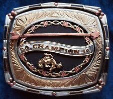2014 Champion Rodeo Heavy Trophy Buckle German Silver-Silver & 24K Gold Plated