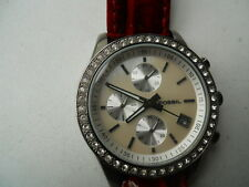 Fossil women's Red leather band.quartz,battery & dress analog watch.ES-1649