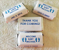 180 FOOTPRINT BABY SHOWER PERSONALIZED CANDY WRAPPERS GREAT favors 4 MINIATURES