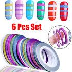 6Pcs Mix Matte Rolls Striping Tape Line DIY Nail Art Tips Decoration Sticker