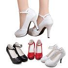 Women Princess Straps Evening Dress Prom Wedding Bridal High Heels Pumps Shoes