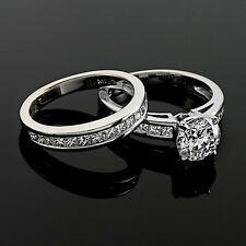 Solitaire Channel Set 2 Carat SI1/H Round Cut Diamond Engagement Ring White Gold