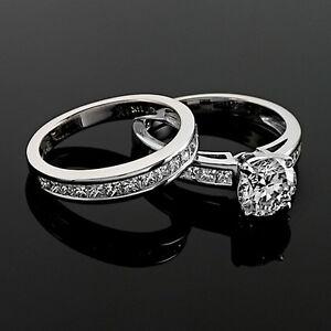 Solitaire Channel Set 2 Carat SI1/H Round Cut Diamond Engagement Ring Enhanced