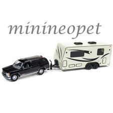 JOHNNY LIGHTNING JLSP016 TRUCK AND TRAILER CHEVROLET TAHOE with CAMPER 1/64