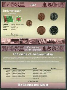 Turkmenistan 1 - 50 tennesi 1993 UNC Coin Set New World Money Series w/CoA