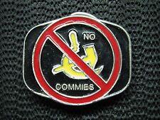 NO COMMIES FUNNY BELT BUCKLE! VINTAGE! VERY RARE! 1984! HORIZON DESIGNS! USA!