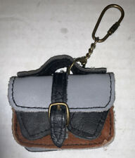 Vintage Designer Leather Gray Black Brown Pockets KeyChain Ring Coin Purse Charm