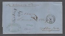 "**US Stampless Cover Ship Mail, To New York 11/1867 Via Panama Canal ""S/S Lima"""