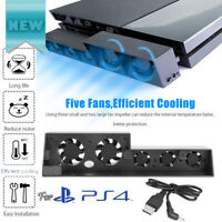 Smart Turbo Temperature Control USB Cooling 5-Fan for Playstation 4 PS4 US