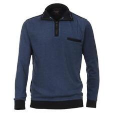CASAMODA Sweat Troyer Pullover Blau 2-farbige Struktur mit Zipper 100% Baumwolle