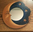"""BALI MOON & STARS MIRROR 13"""" Hand Carved & Painted Natural colors NEW"""