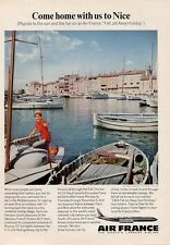 """1964 Air France Airlines PRINT AD """"Come Home with us to Nice France"""" Great Photo"""
