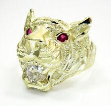 7.40 Grams 10k Yellow Gold Mens Tiger Head Ruby Gemstone Hip Hop Ring