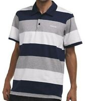 Reebok Stripe Blue Grey White S Mens Core Polo Shirt BNWT New Small T-Shirt Golf