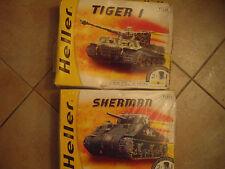 HELLER 2 maquettes Char SHERMAN et TIGER 1 ech 1/72