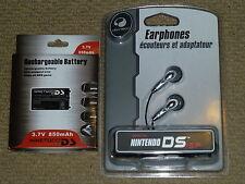 NINTENDO DS ORIGINAL ACCESSORY SET NEW! REPLACEMENT BATTERY + HEADPHONES GBA SP