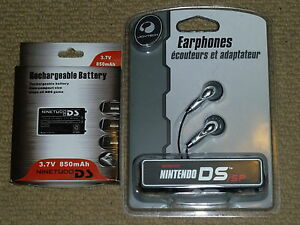 NINTENDO DS ORIGINAL ACCESSORY SET NEW! REPLACEMENT BATTERY + HEADPHONES GBA SP