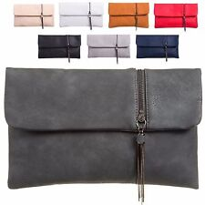 Ladies Faux Leather Zip Clutch Bag Chain Evening Bag Fold Over Handbag KT998