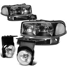 FOR 03-06 GMC SIERRA/CLASSIC BLACK CLEAR BUMPER HEADLIGHT+DRIVING FOG LIGHT/LAMP