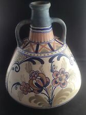 Huge Dutch OUD Delft Art Pottery Vase Handpainted 1931 Art Deco Design 2 handles