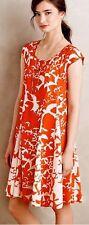 $138 Anthropologie Maeve Indiga Swing Dress orange white Bird print S