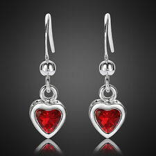Sale! Lady Gift Heart Ruby White Gold Plated Gp Earring Dangle Stick Earing Nr