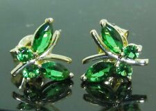 2.00Ct Marquise & Round Cut Green Emerald Stud Earrings 14K Yellow Gold Finish