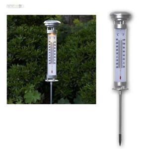 """LED Solar Garten-Thermometer """"CELCIUS"""" beleuchtet Außen-Termometer mit Erdspieß"""