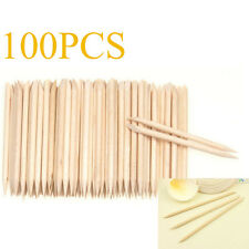 100pcs Nail Art Cuticle Pusher Remover Pedicure Manicure Wood Sticks Tool Wooden