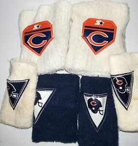 """VINTAGE LOT CHICAGO BEARS """"UNKNOWN"""" PLAYER WORN FOOTBALL WRISTBANDS"""