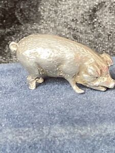 Hallmarked Solid Silver Pig London J S & M J 1982