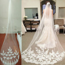 Ivory Lace Cathedral Bridal Wedding Veils with Comb Blusher Bride Hair Accessory