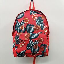 """Roxy Womens 15"""" Long Sugar River Backpack Canvas Tropical Floral Zipper Pink $40"""