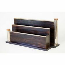 French Art Deco Macassar Ebony & Chrome Mail Letter Holder Desk Organizer Adnet