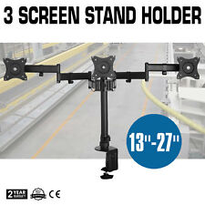 """Triple Arm Desk Computer Monitor Mount Stand TV LCD LED 13-27"""" Screen Bracket PC"""