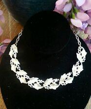 Silver Vintage Leaf Link Collar Necklace