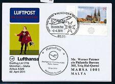 79052) LH FF munich-Malta 2.4.2011, tarjeta especial