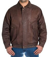 Mens Brown Italian Vintage Leather Classic Casual Retro Bomber Blouson Jacket Brown 2xl