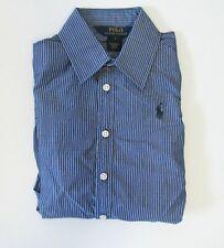 Polo Ralph Lauren Girls Cotton Poplin Striped Long Sleeve Shirt Navy/White Sz 6