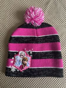 Disney Frozen Beanie Hat Cap Kids Elsa Anna Olaf Snowflake Pink Black Stripes