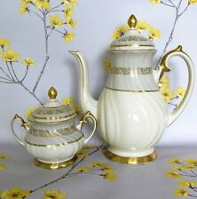 Large vintage KP COFFEE POT & sugar bowl. Upsala Ekeby Karlskrona, SWEDEN.