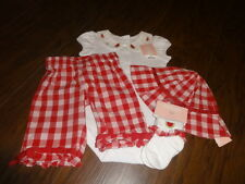 NWT GYMBOREE 0-3-6  WATERMELON RED GINGHAM ONE PIECE PANT HAT SOCK SET