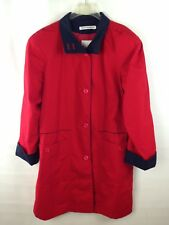 Misty Harbor Red Navy Blue Raincoat Rain Coat Button Closure 3/4 Length Womens M
