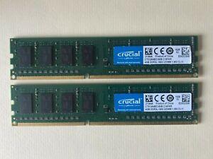 8GB Kit (2 x 4GB) Crucial 4GB  DDR3L - 1600 UDIMM / CT51264BD160B. C16FKR